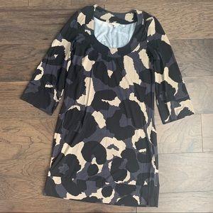 Boden Gray, Black & Tan Animal Print Tunic Dress